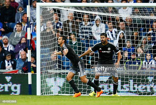 Pedro of Chelsea celebrates scoring the opening goal during the Barclays Premier League match between West Bromwich Albion and Chelsea at The...
