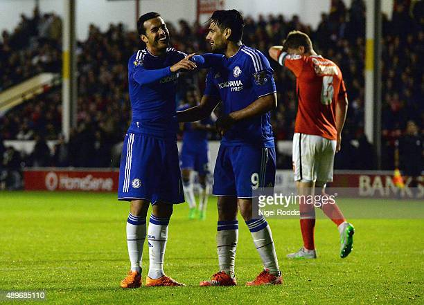 Pedro of Chelsea celebrates with Radamel Falcao Garcia as he scores their fourth goal during the Capital One Cup third round match between Walsall...