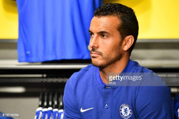 Pedro of Chelsea FC attends an activity ahead of the PreSeason Friendly match between Chelsea and Arsenal on July 20 2017 in Beijing China