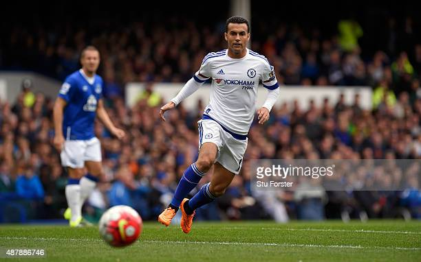 Pedro of Chelsea in action during the Barclays Premier League match between Everton and Chelsea at Goodison Park on September 12 2015 in Liverpool...