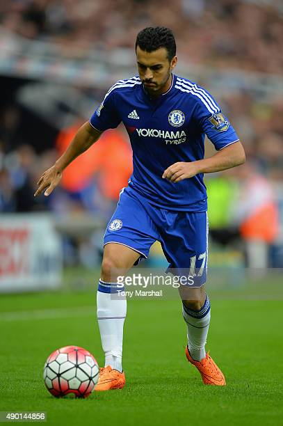 Pedro of Chelsea in action during the Barclays Premier League match between Newcastle United and Chelsea at St James' Park on September 26 2015 in...