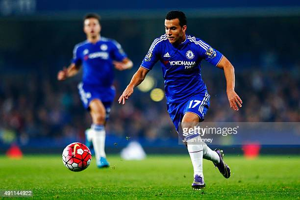 Pedro of Chelsea in action during the Barclays Premier League match between Chelsea and Southampton at Stamford Bridge on October 3 2015 in London...