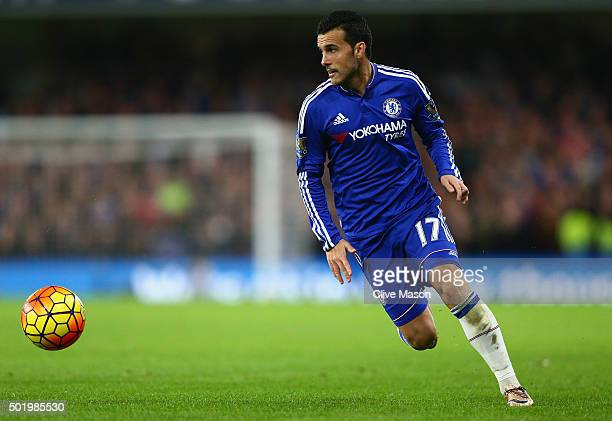 Pedro of Chelsea in action during the Barclays Premier League match between Chelsea and Sunderland at Stamford Bridge on December 19 2015 in London...