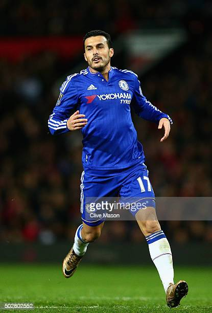 Pedro of Chelsea in action during the Barclays Premier League match between Manchester United and Chelsea at Old Trafford on December 28 2015 in...