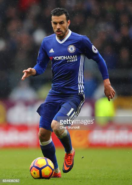 Pedro of Chelsea in action during the Premier League match between Burnley and Chelsea at Turf Moor on February 12 2017 in Burnley England