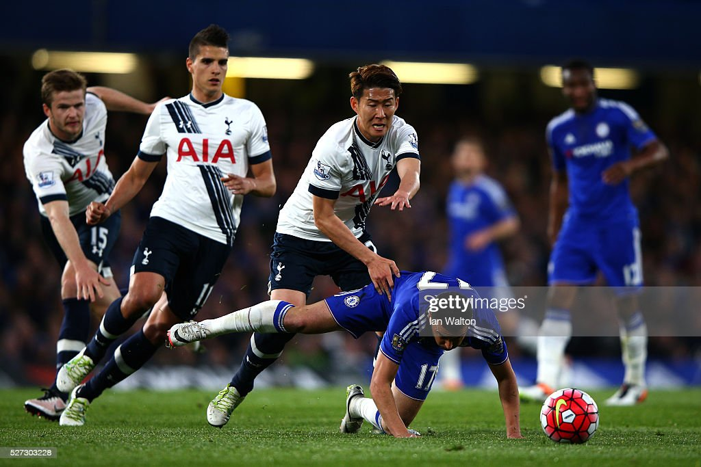 Pedro of Chelsea is closed down by Son Heung-Min, <a gi-track='captionPersonalityLinkClicked' href=/galleries/search?phrase=Erik+Lamela&family=editorial&specificpeople=7198648 ng-click='$event.stopPropagation()'>Erik Lamela</a> and <a gi-track='captionPersonalityLinkClicked' href=/galleries/search?phrase=Eric+Dier&family=editorial&specificpeople=9440610 ng-click='$event.stopPropagation()'>Eric Dier</a> of Tottenham Hotspur during the Barclays Premier League match between Chelsea and Tottenham Hotspur at Stamford Bridge on May 02, 2016 in London, England.