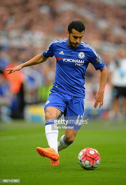 Pedro of Chelsea on the ball during the Barclays Premier League match between Newcastle United and Chelsea at St James' Park on September 26 2015 in...