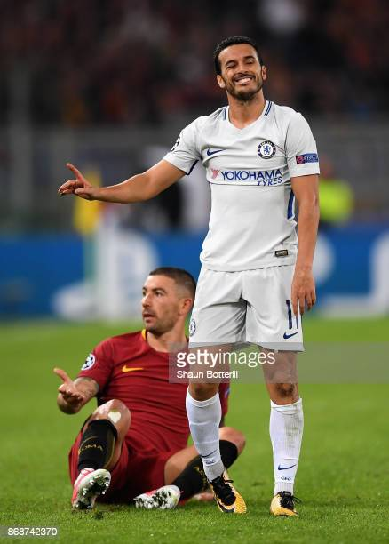 Pedro of Chelsea reacts as Aleksandar Kolarov of AS Roma looks on during the UEFA Champions League group C match between AS Roma and Chelsea FC at...