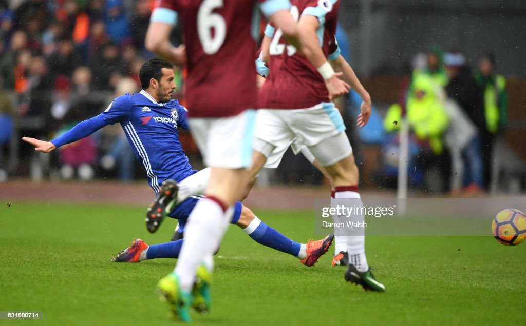 Pedro of Chelsea scores his sides first goal during the Premier League match between Burnley and Chelsea at Turf Moor on February 12, 2017 in Burnley, England.