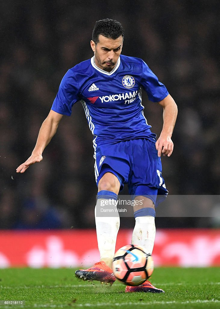 Pedro of Chelsea scores his sides fourth goal during The Emirates FA Cup Third Round match between Chelsea and Peterborough United at Stamford Bridge on January 8, 2017 in London, England.