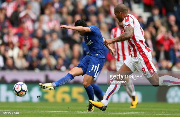 Pedro of Chelsea scores his side's second goal during the Premier League match between Stoke City and Chelsea at Bet365 Stadium on September 23 2017...
