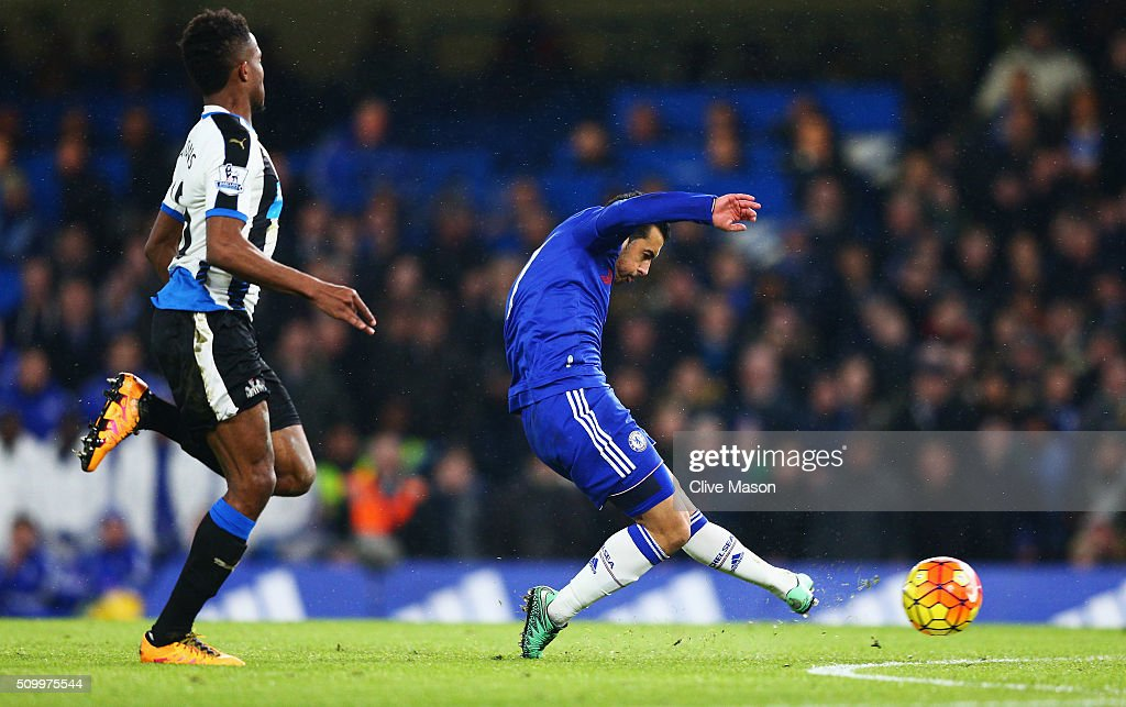 Pedro of Chelsea scores his team's second goal during the Barclays Premier League match between Chelsea and Newcastle United at Stamford Bridge on February 13, 2016 in London, England.