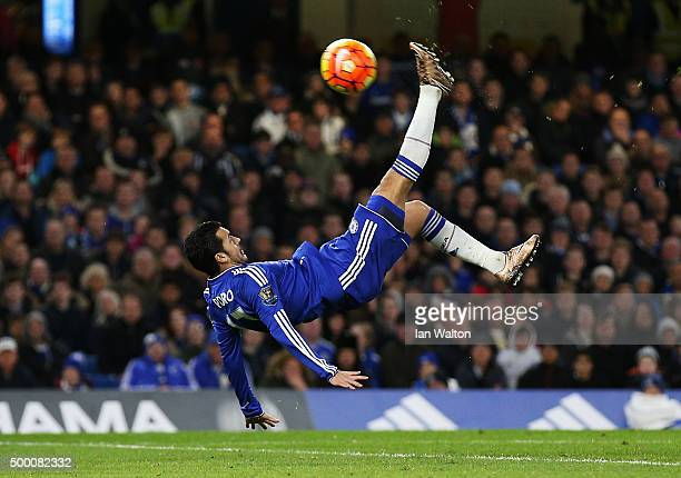 Pedro of Chelsea shoots a bicycle kick during the Barclays Premier League match between Chelsea and AFC Bournemouth at Stamford Bridge on December 5...