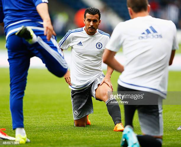 Pedro of Chelsea warms up prior to the Barclays Premier League match between West Bromwich Albion and Chelsea at The Hawthorns on August 23 2015 in...
