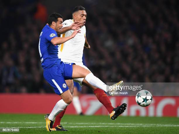Pedro of Chelseaand Radja Nainggolan of AS Roma battle for posession during the UEFA Champions League group C match between Chelsea FC and AS Roma at...
