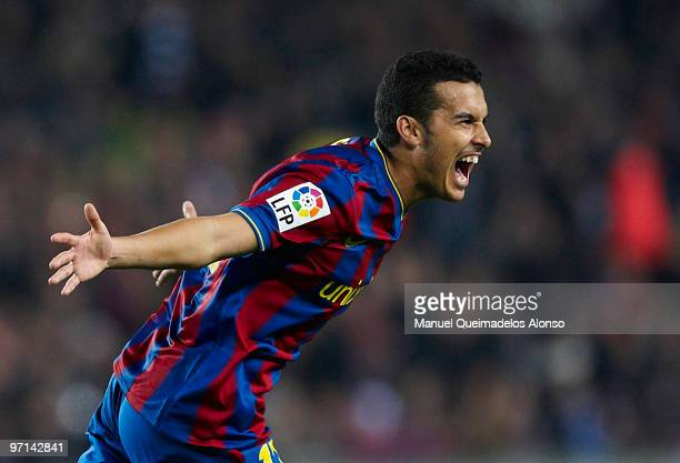 Pedro of FC Barcelona celebrates after scoring 10 during the La Liga match between Barcelona and Malaga at Camp Nou on February 27 2010 in Barcelona...