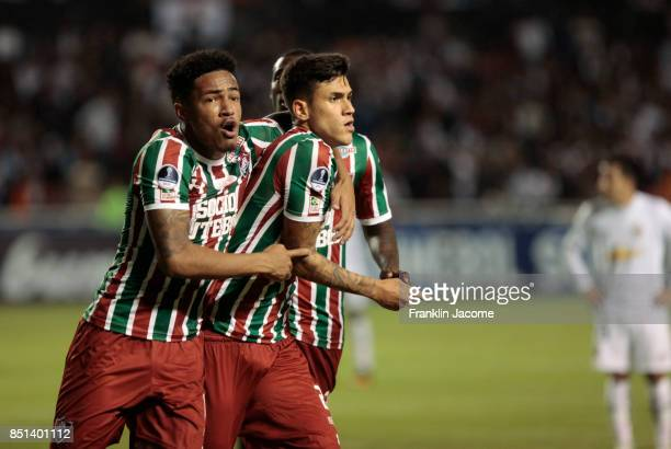Pedro of Fluminense celebrates after scoring the first goal of his team during a second leg match between LDU Quito and Fluminense as part of round...
