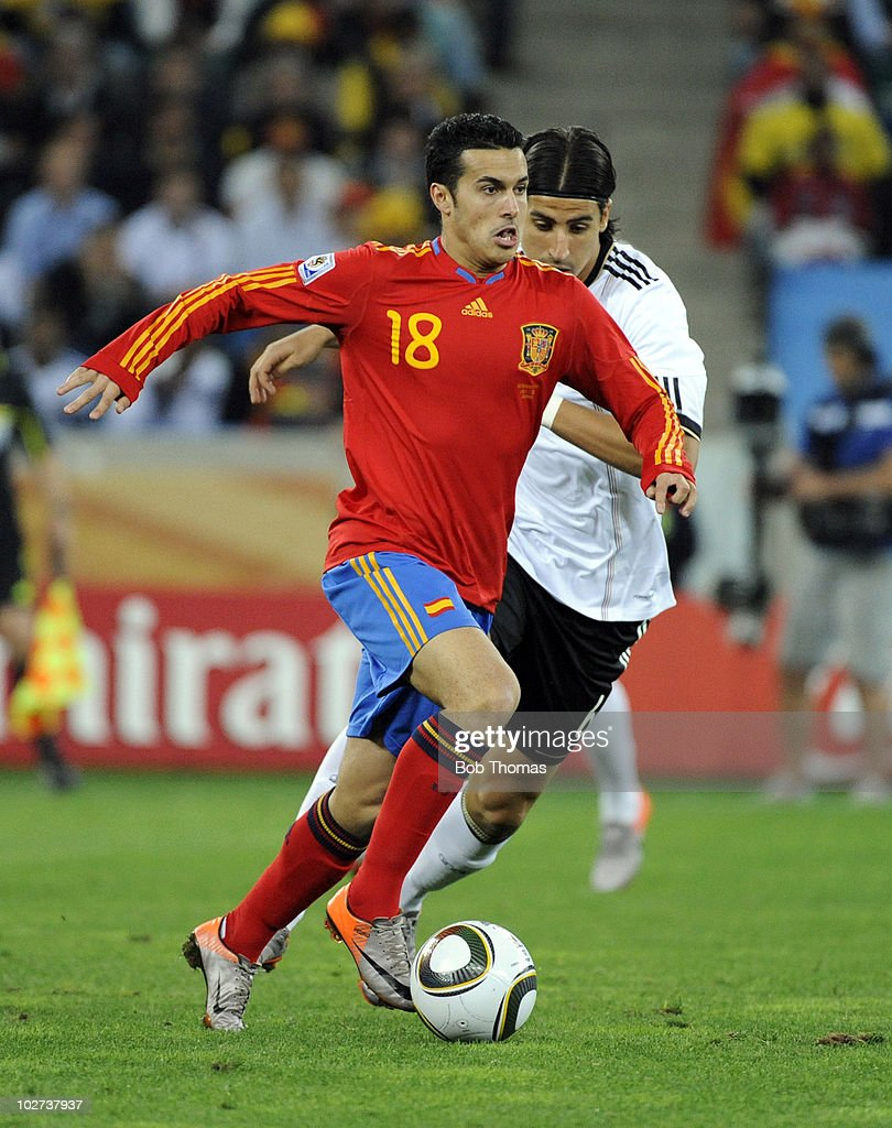 Pedro of Spain during the 2010 FIFA World Cup South Africa Semi Final match between Germany and Spain at Durban Stadium on July 7 2010 in Durban...