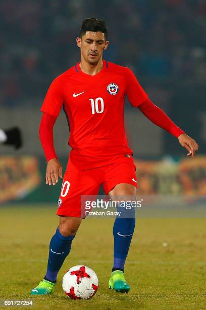 Pedro Pablo Hernandez of Chile drives the ball during a match between Chile and Burkina Faso as part of an International Friendly at Nacional Julio...