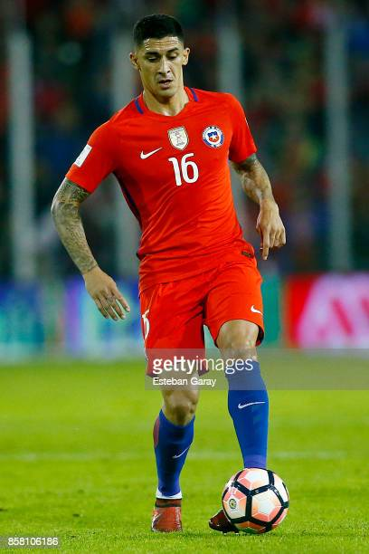 Pedro Pablo Hernandez of Chile drives the ball during a match between Chile and Ecuador as part of FIFA 2018 World Cup Qualifiers at Monumental...