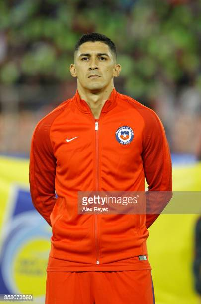 Pedro Pablo Hernandez of Chile looks on during the national anthem prior a match between Chile and Ecuador as part of FIFA 2018 World Cup Qualifiers...