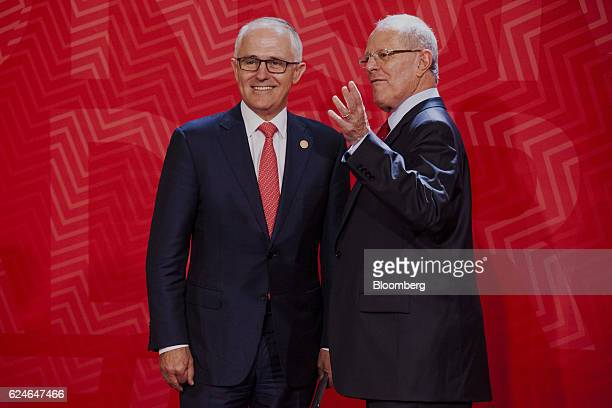 Pedro Pablo Kuczynski Peru's president right greets Malcolm Turnbull Australia's prime minister during the AsiaPacific Economic Cooperation 2016 CEO...