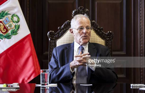 Pedro Pablo Kuczynski Peru's president speaks during an interview at the Presidential Palace in Lima Peru on Wednesday April 5 2017 As Peru clears up...