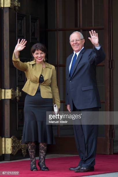 Pedro Pablo Kuczynski President of Peru and Doris Leuthard President of Switzerland greet the public during an official visit in order to sign...