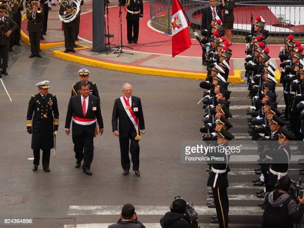 Pedro Pablo Kuczynski President of Peru and Jorge Nieto Montesinos Minister of Defense reviewing the troops at Military parade commemorating 196th...