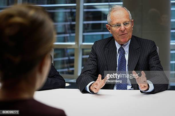 Pedro Pablo Kuczynski president of Peru speaks during an interview in New York US on Monday Sept 19 2016 Kuczynski is looking to revive demand from...