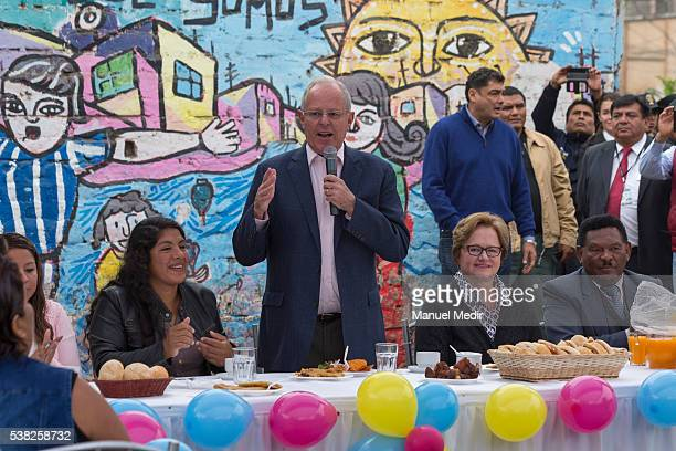 Pedro Pablo Kuczynski presidential candidate attends a breakfast during elections day at La Victoria on June 05 2016 in Lima Peru