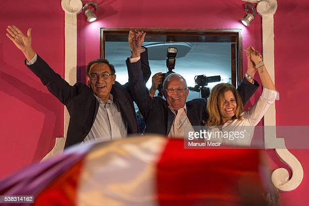 Pedro Pablo Kuczynski Presidential Candidate for PPK greets his supporters next to Martin Vizcarra and Mercedes Araoz after the presidential runoff...