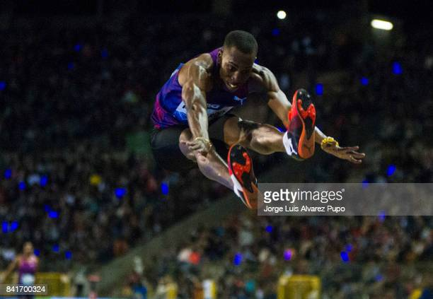 Pedro Pablo Pichardo of Cuba competes in men's Triple jump during the AG Insurance Memorial Van Damme as part of the IAAF Diamond League 2017 at King...