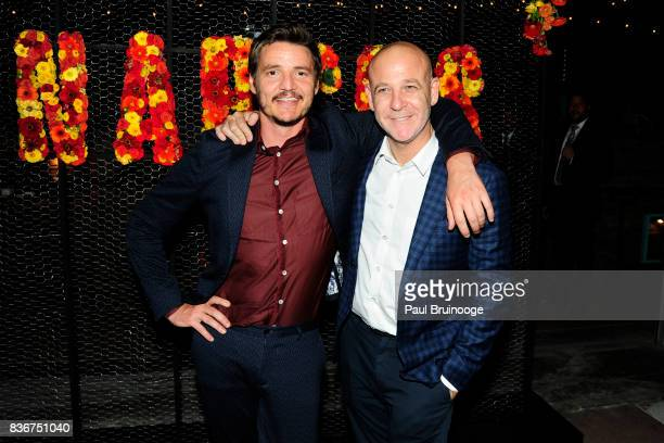 Pedro Pascal and Peter Friedlander attend 'Narcos' Season 3 New York Screening After Party at Stage 48 on August 21 2017 in New York City