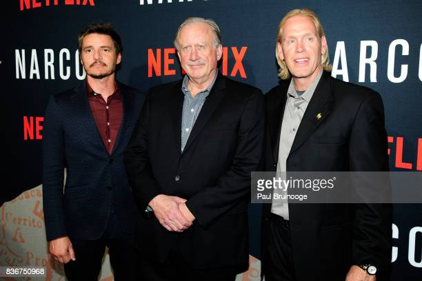 Pedro Pascal William Rempel and Chris Feistl attend 'Narcos' Season 3 New York Screening Arrivals at AMC Lincoln Square 13 Theater on August 21 2017...