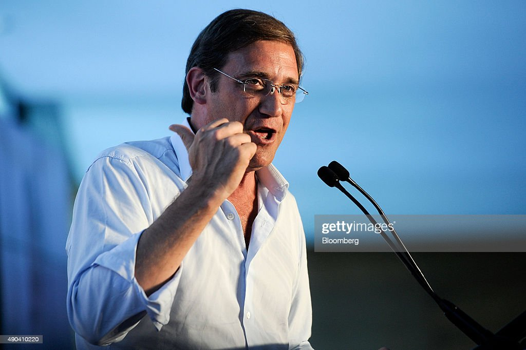 <a gi-track='captionPersonalityLinkClicked' href=/galleries/search?phrase=Pedro+Passos+Coelho&family=editorial&specificpeople=6912340 ng-click='$event.stopPropagation()'>Pedro Passos Coelho</a>, Portugal's prime minister, delivers a speech during a political rally ahead of the election in Guimaraes, Portugal, on Sunday, Sept. 27, 2015. Coelho's governing coalition faces the Socialists, which requested the 2011 international rescue and then backed some of the bailout's most important elements when cast out of power. Photographer: Paulo Duartes/Bloomberg via Getty Images