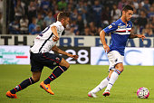 Pedro Pereira of Sampdoria is challenged by Luca Rizzo of Bologna during the Serie A match between UC Sampdoria and Bologna FC at Stadio Luigi...