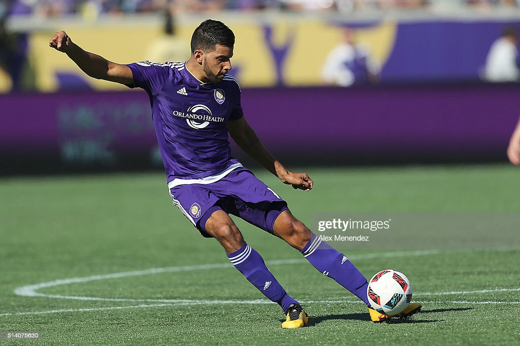 Pedro Ribeiro #15 of Orlando City SC kicks the ball during a MLS soccer match between Real Salt Lake and the Orlando City SC at the Orlando Citrus Bowl on March 6, 2016 in Orlando, Florida. The game ended in a 2-2 draw.