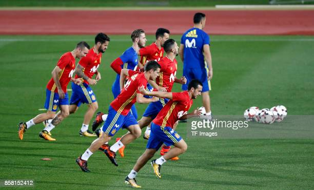Pedro Rodríguez of Spain Cesar Azilicueta of Spain Iago Aspas of Spain David De Gea of Spain of Spain and Isco Alarcon of Spain attends a training...