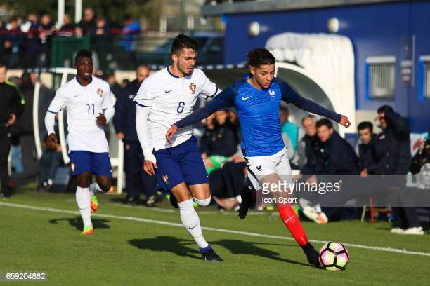 Pedro Rodrigues of Portugal and Amine Harit of France during the 4 Nations Tournament U20 match between France and Portugal on March 28 2017 in...