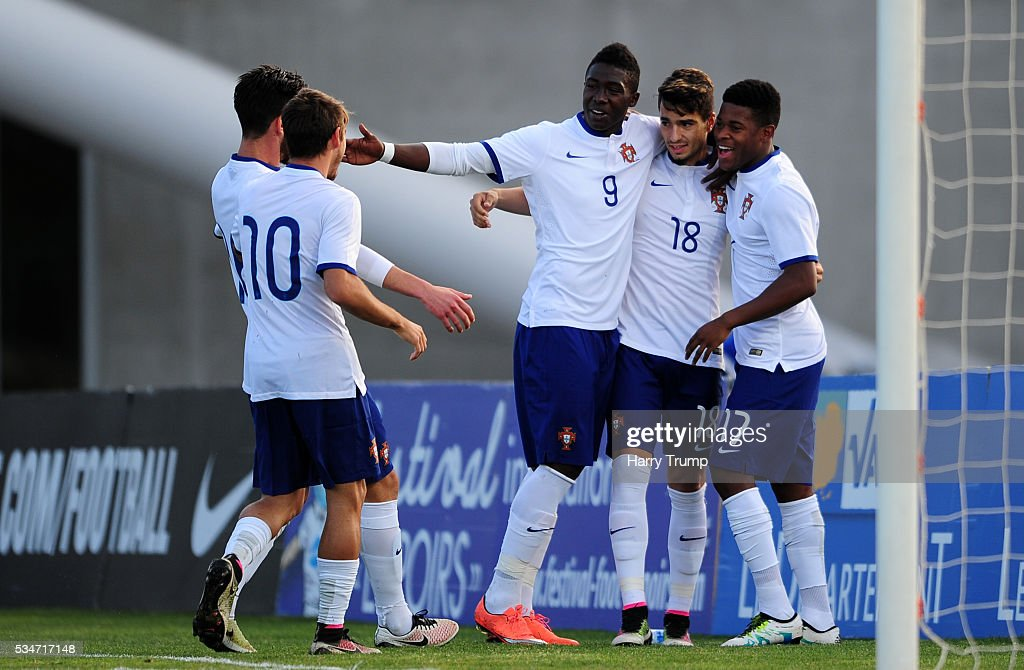 Pedro Rodrigues of Portugal(C) celebrates his sides first goal during the Toulon Tournament match between Portugal and Paraguay at the Stade Leo Lagrange on May 27, 2016 in Toulon, France.