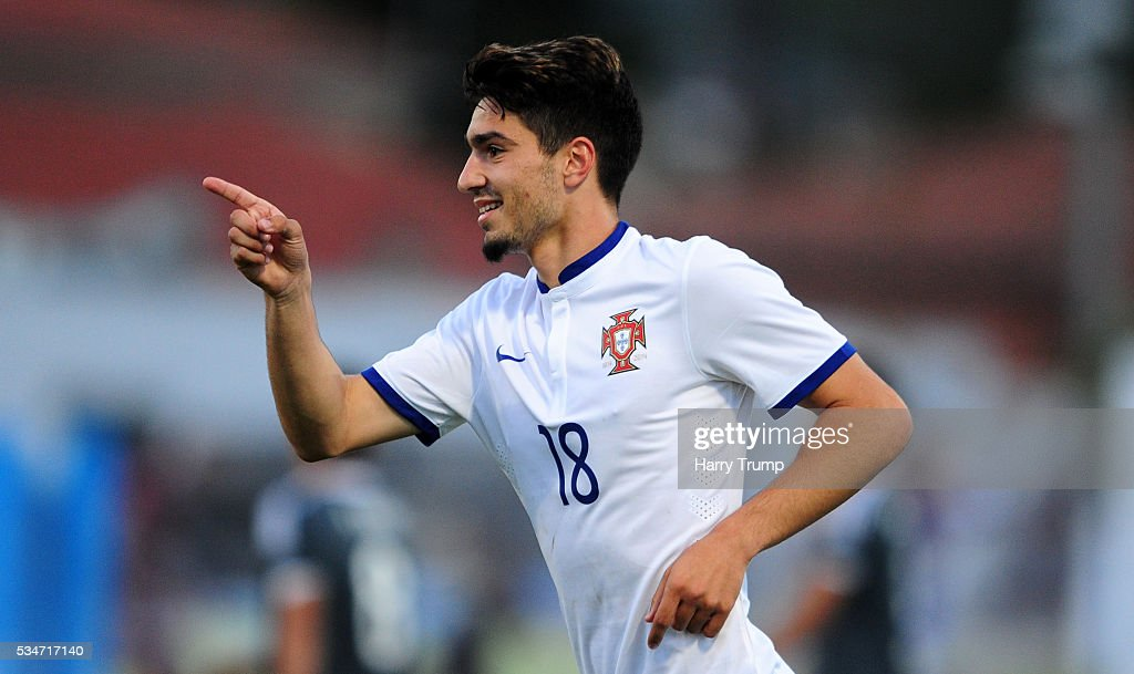 Pedro Rodrigues of Portugal celebrates his sides third goal during the Toulon Tournament match between Portugal and Paraguay at the Stade Leo Lagrange on May 27, 2016 in Toulon, France.