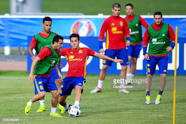 Pedro Rodriguez and his teammate Cesc Fabregas of Spain competes for the ball during a training session on June 10 2016 in La Rochelle France