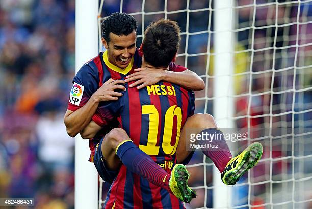 Pedro Rodriguez and Lionel Messi from FC Barcelona celebrate the seventh goal during La Liga match 28 between FC Barcelona and CA Osasuna at Camp Nou...