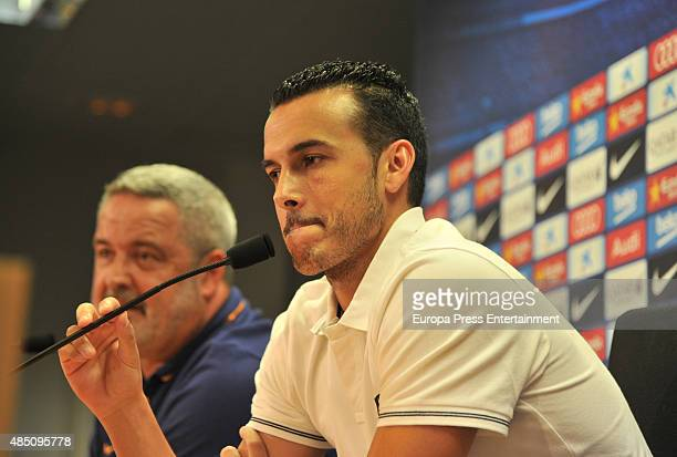 Pedro Rodriguez attends the farewell press conference for his departure from FC Barcelona to Chelsea on August 24 2015 in Barcelona Spain