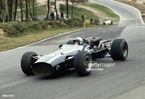 Pedro Rodriguez drives the CooperMaserati T81 during the Daily Mail Race of Champions on 12 March 1967 at the Brands Hatch circuit in Fawkham Great...
