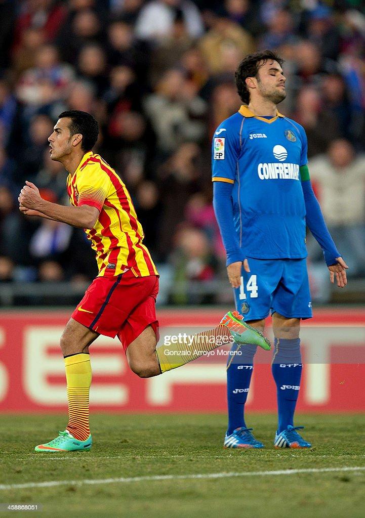 Pedro Rodriguez Ledesma of FC Barcelona celebrates scoring their third goal during the La Liga match between Getafe CF and FC Barcelona at Coliseum...