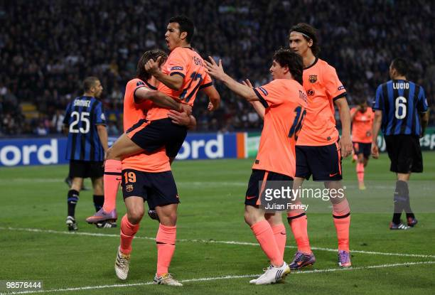 Pedro Rodriguez of Barcelona celebrates with teammates after scoring the opening goal during the UEFA Champions League Semi Final 1st Leg match...