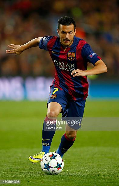 Pedro Rodriguez of Barcelona in action during the UEFA Champions League Quarter Final second leg match between FC Barcelona and Paris SaintGermain at...