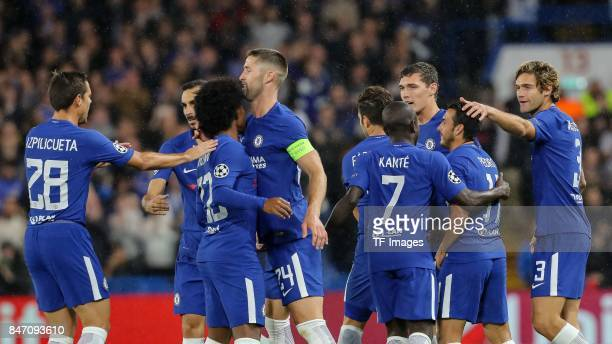 Pedro Rodriguez of Chelsea celebrates after scoring his team`s first goal during the UEFA Champions League group C match between Chelsea FC and...